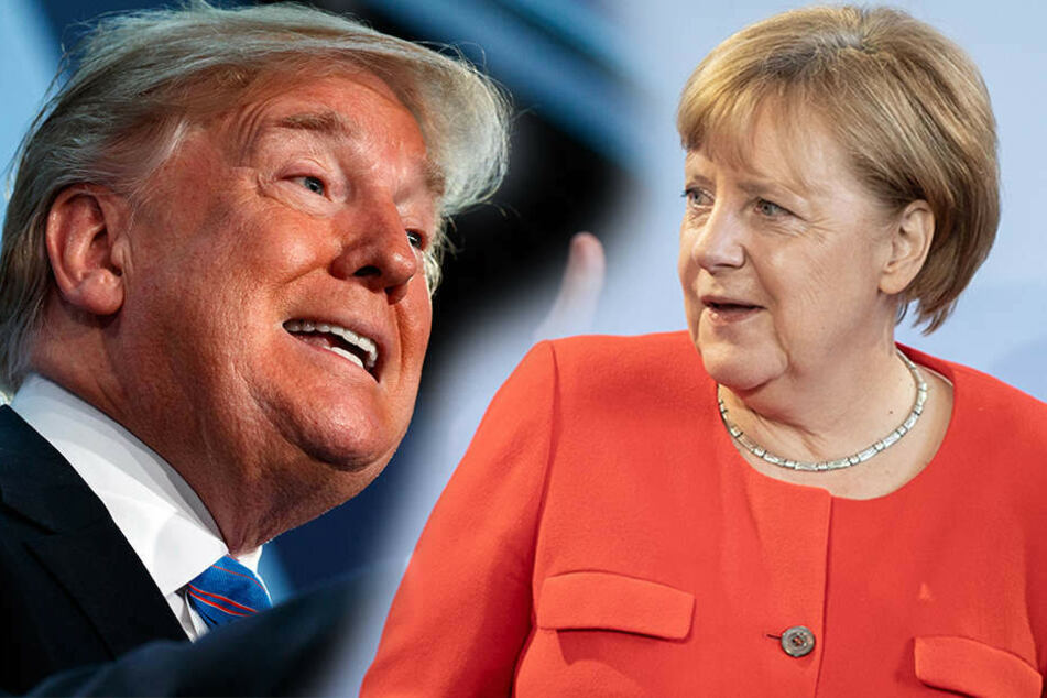 US-Präsident Donald Trump (72) schwärmt vom Verhältnis zu Kanzlerin Angela Merkel (63, CDU). (Bildmontage)