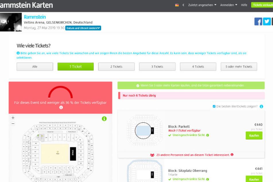 Zu deutlich überhöhten Preisen werden Rammstein-Tickets weiterverkauft.