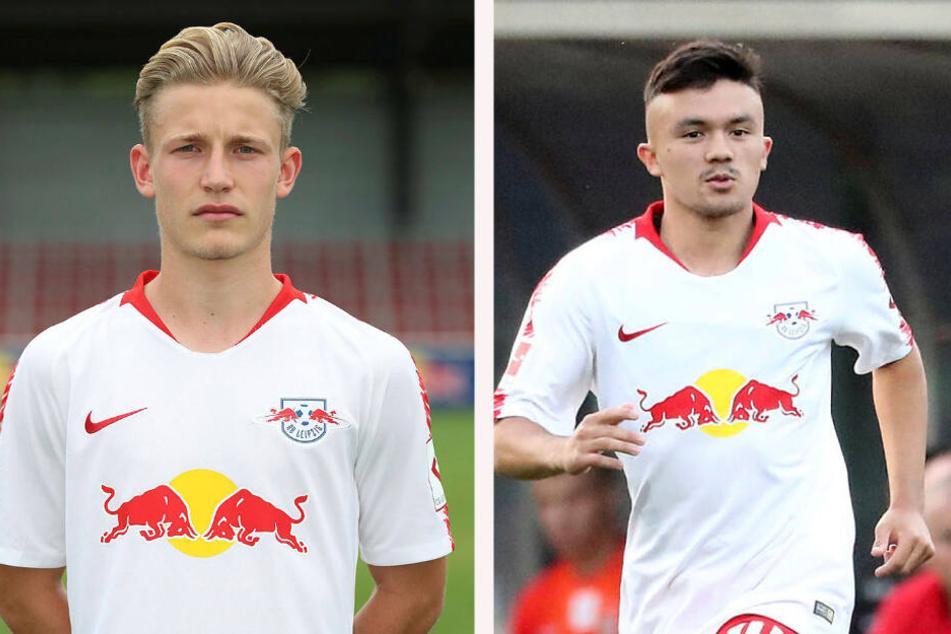 Max Winter (l.) und Oliver Bias liefen bereits in Testspielen für RB Leipzigs Profis auf, Bias in der letzten Saison sogar in der Europa-League-Qualifikation.
