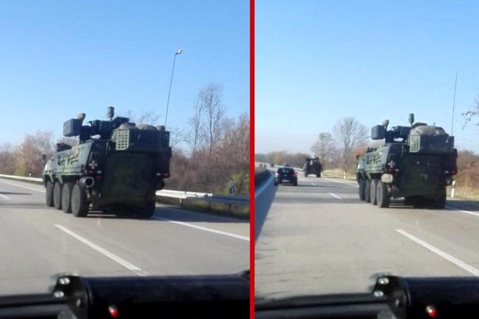 Die Panzer rollten von Osten kommend Richtung Leipzig. Ihr Ziel ist offenbar der US-Übungsplatz Hohenfels in Bayern.