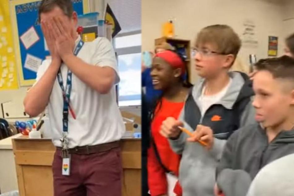 Schüler brechen ihrem Lehrer in diesem Moment das Herz