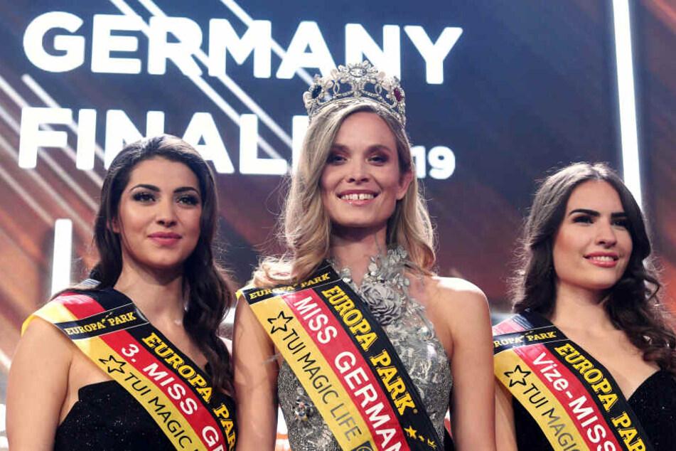 Die Siegerinnen der Miss-Germany-Wahl: Anastasia Aksak, Nadine Berneis und Pricilla Klein.