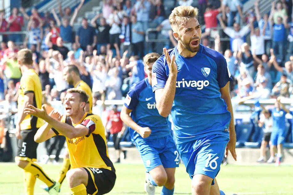 In Bochum ging's los: Da jubelte Lukas Hinterseer kurz vor Ultimo über sein 3:2 gegen Dynamo.