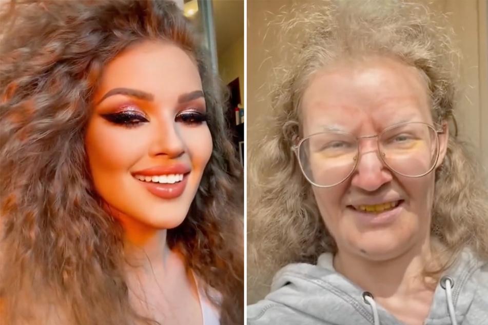 Ein Unterschied wie Tag und Nacht: Die Ukrainerin Valeria Voronina (20) demonstriert, wie viel eine andere Frisur und eine dicke Ladung Schminke ausmachen können.