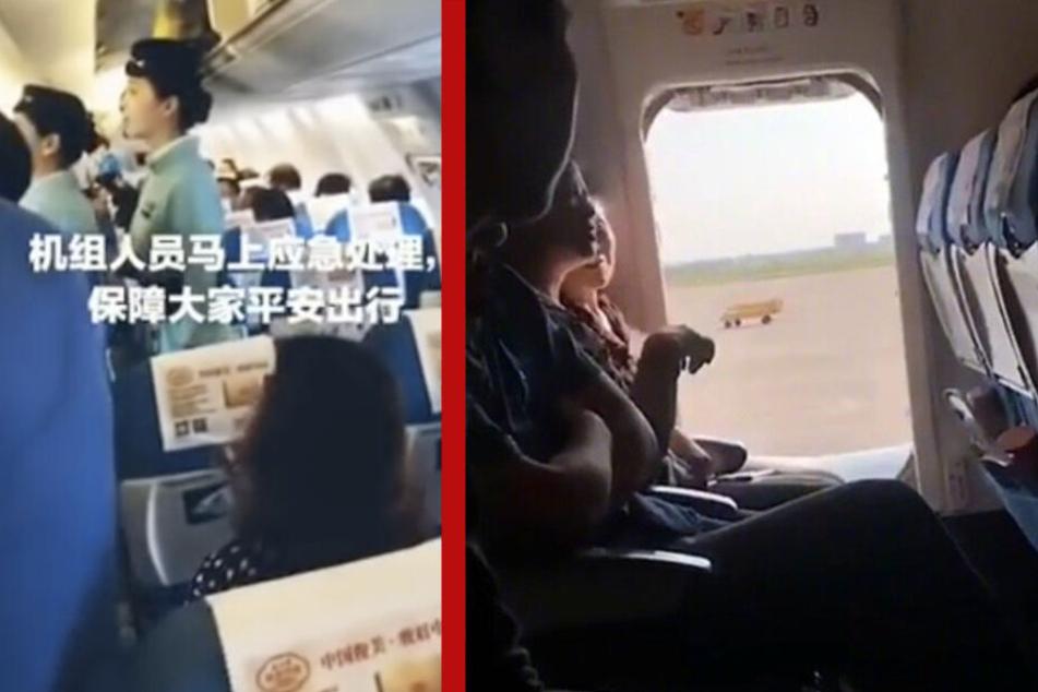 Fassungslosigkeit auf einem Xiamen-Air-Flug: Eine Frau (r.) öffnete auf dem Rollfeld den Notausgang. Sie wollte noch mal kurz durchlüften.