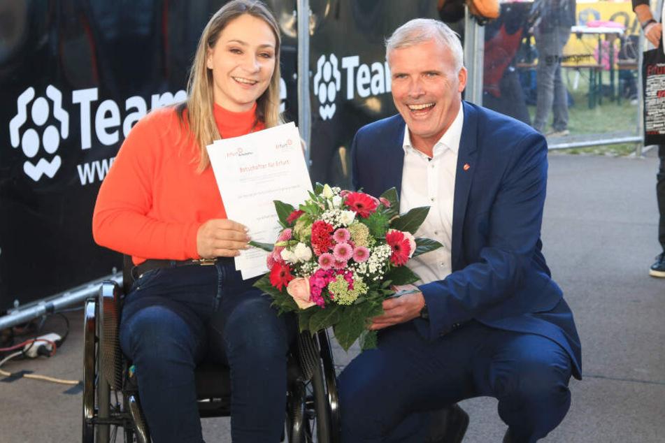 Im September wurde die Radsportlerin von Oberbürgermeister Andreas Bausewein zur Botschafterin von Erfurt ernannt.
