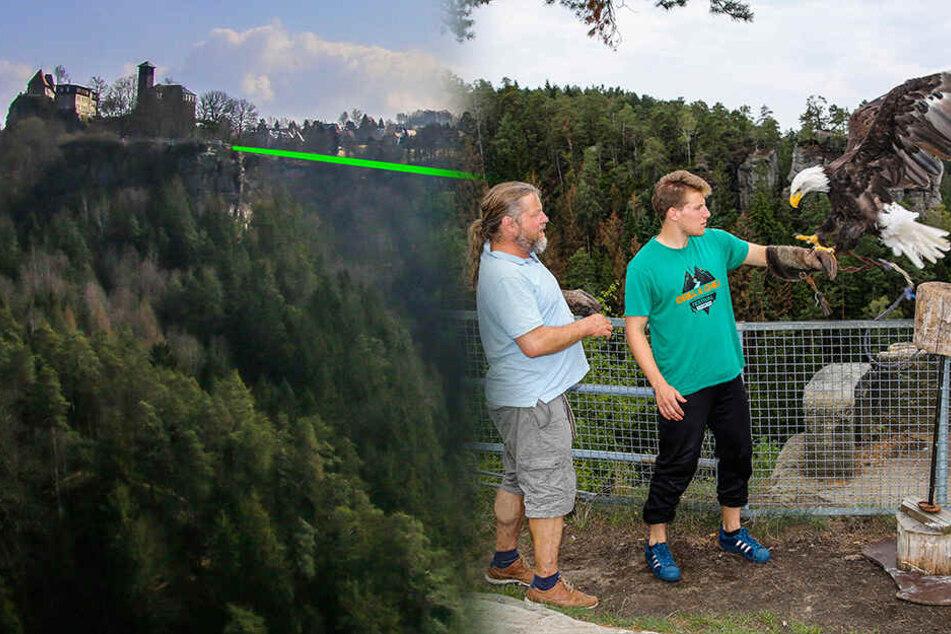 Der Adler-Trick: So bringt man in der Sächsischen Schweiz eine Slackline über den Abgrund