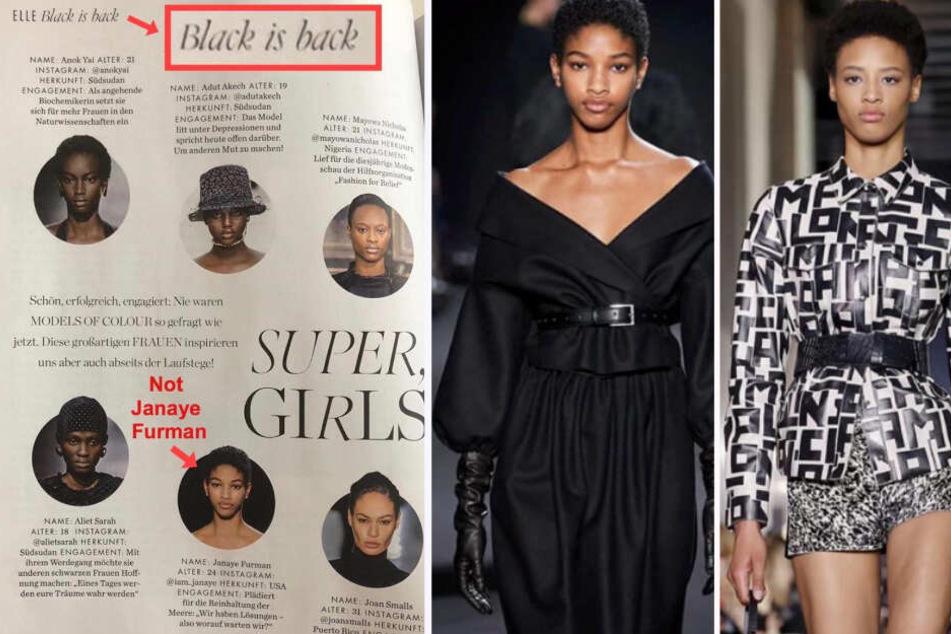 Auf der Seite der Elle (l) wurden die Models Janaye Furman (r) und Naomi Chinwing vertauscht. (Bildmontage)