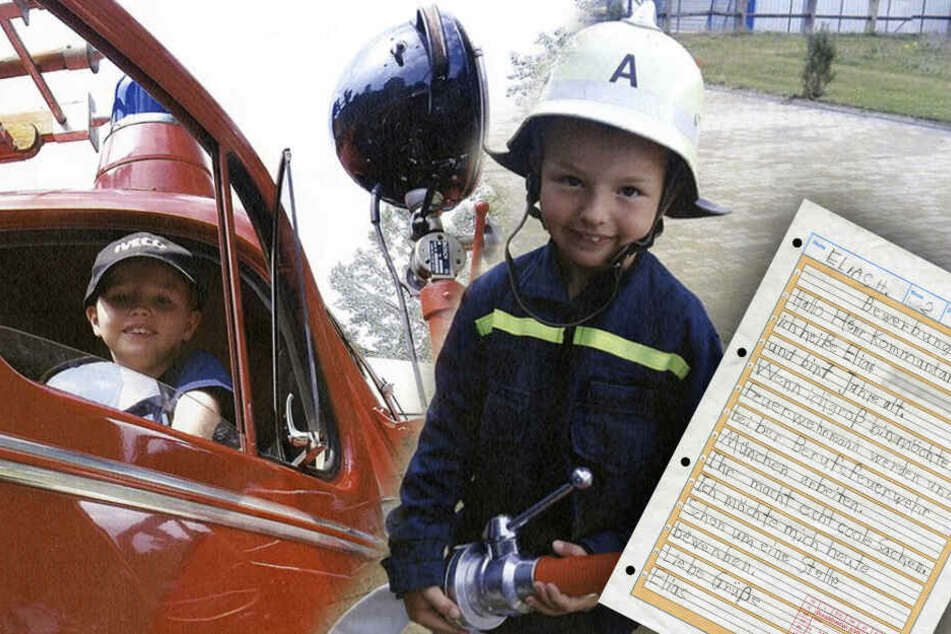 Elias (7) großer Traum ist es bei der Feuerwehr zu arbeiten. (Bildmontage)