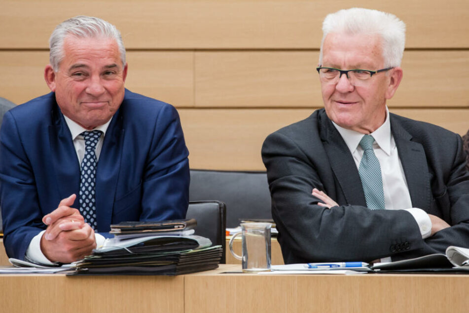 Neben Winfried Kretschmann (rechts) war auch Thomas Strobl (links) zugegen.