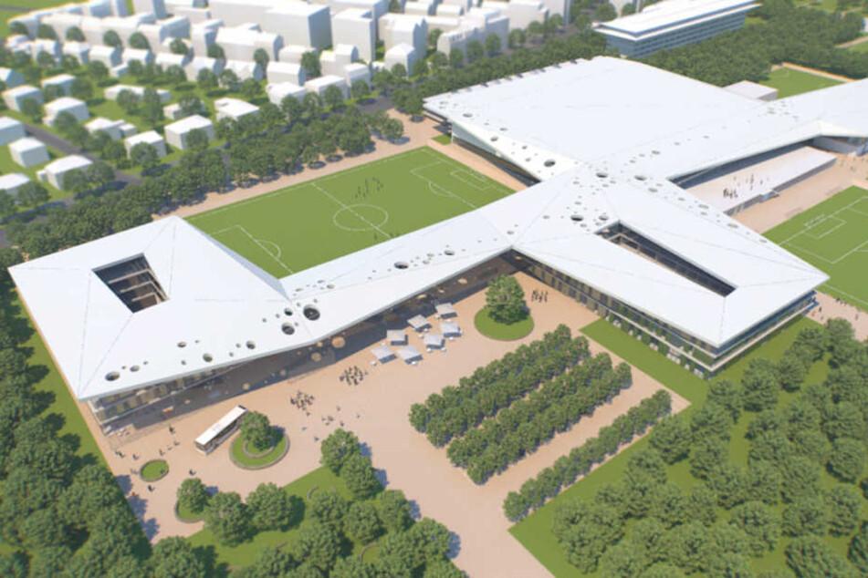 So soll sie aussehen, die DFB-Akademie auf dem Gelände der Galopprennbahn.
