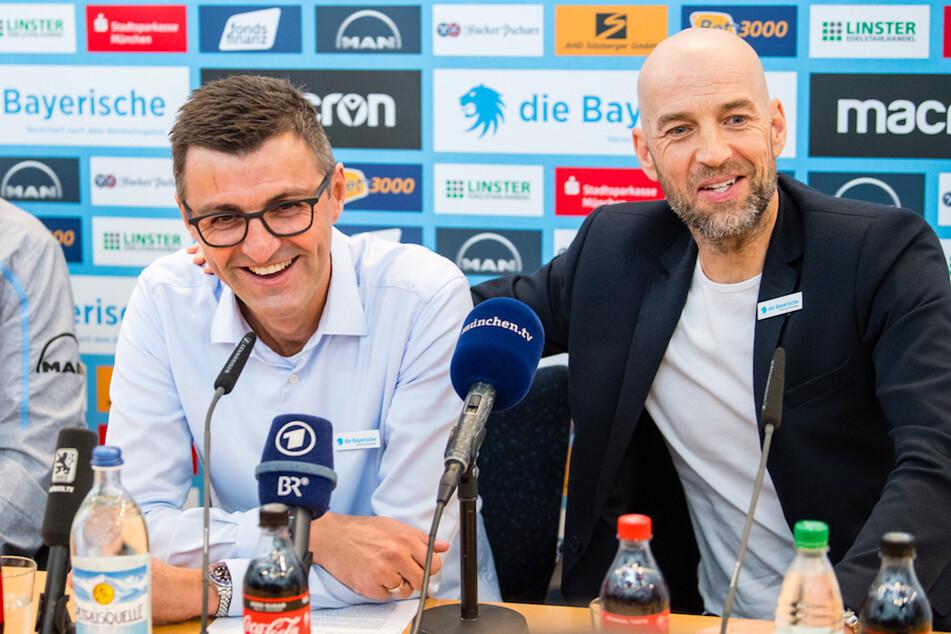 Günther Gorenzel (r), Sportlicher Leiter von 1860 München, mit Trainer Michael Köllner.