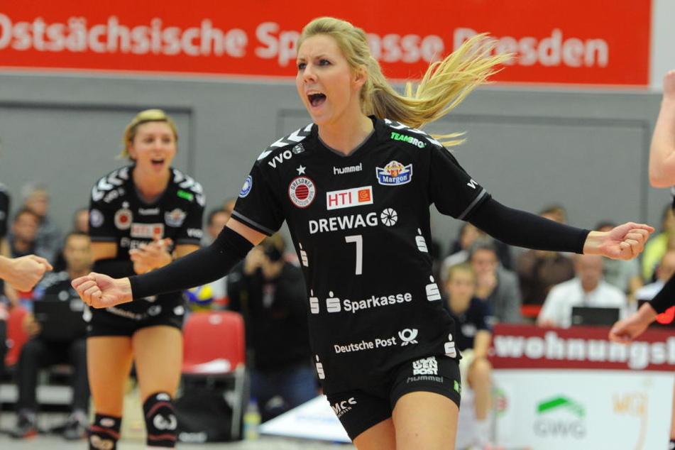 Laura holte mit dem Dresdner SC 2015 den Meistertitel, 2016 sogar das Double aus Titel und Pokalsieg,