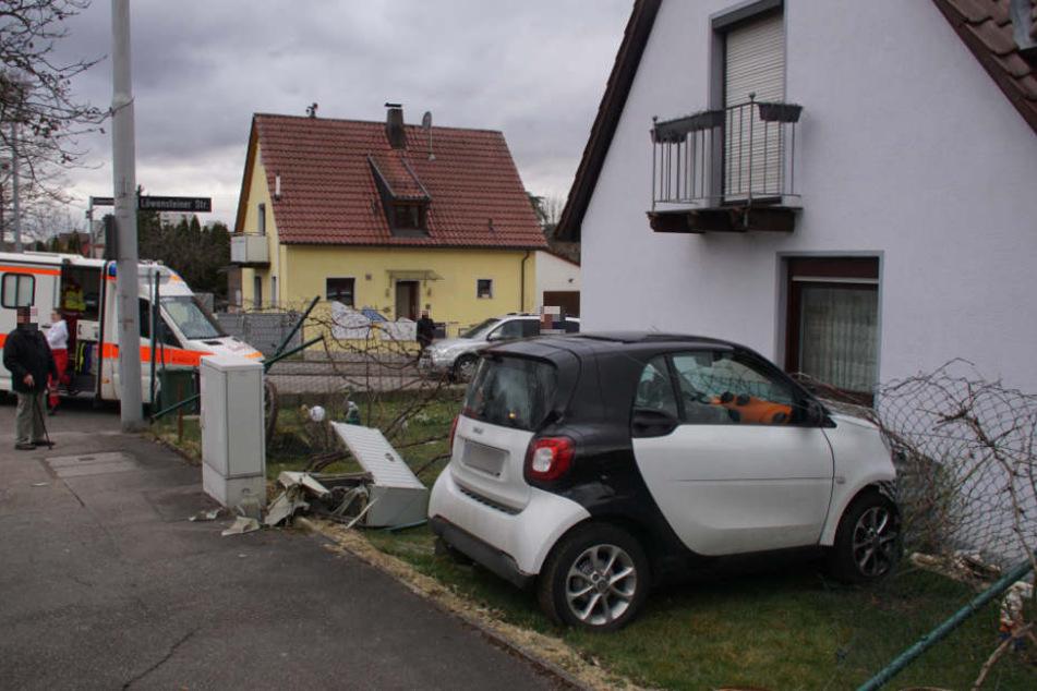 Der Smart walzte einen Stromkasten platt, durchbrach einen Gartenzaun.