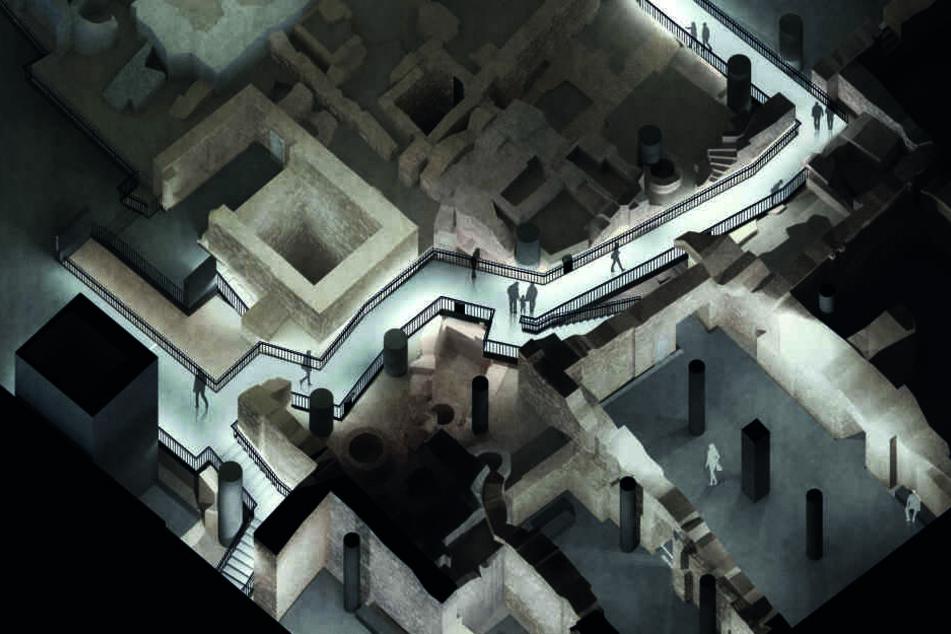 Ein Blick in die Zukunft: Archäologischer Rundgang im Jüdischen Viertel, Gang zwischen Synagoge und Goldschmiedehäusern (Simulation).