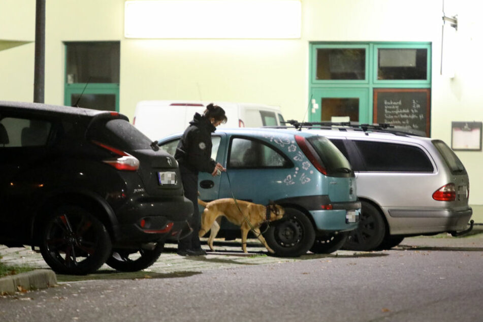 """Mit einem Spürhund untersucht eine Polizeibeamtin den Opel Corsa des mutmaßlichen Stalking-Opfers auf weitere """"Überraschungen""""."""