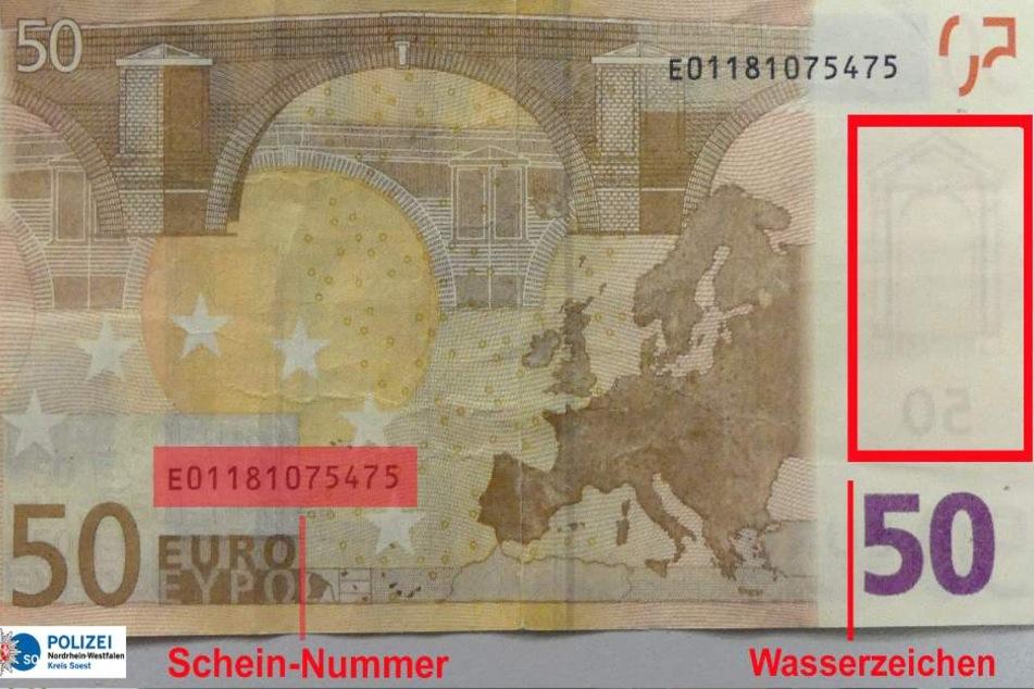 Die Unterschiede zu einem richtigen 50€-Schein sind gravierend.