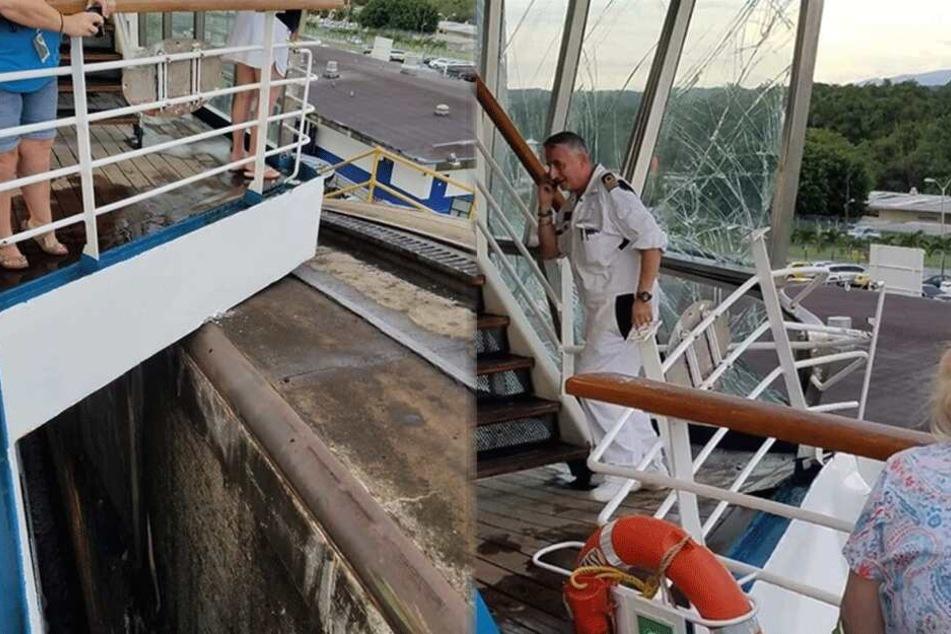 Kapitän und Besatzung eilten sofort auf die betroffenen Decks, um die Glasscherben zu beseitigen und die betroffenen Bereiche zu sichern.