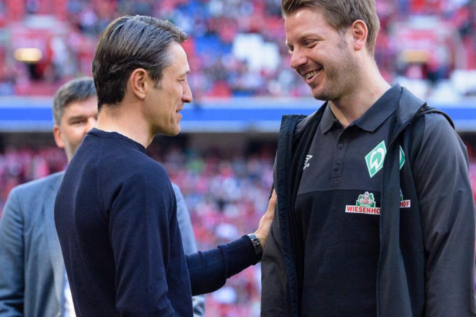 Niko Kovac (l.) und Bremen-Trainer Florian Kohfeldt (r.) haben gegenseitigen Respekt.