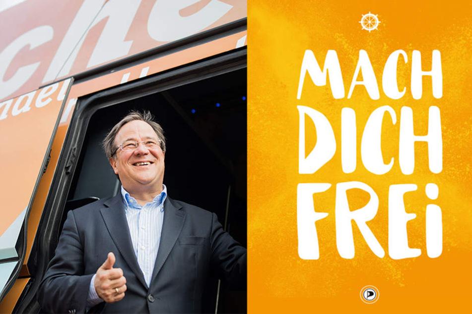 """Armin Laschets (links) CDU soll den Wahlspruch """"Mach dich frei"""" von den Piraten geklaut haben. Die Postkarte rechts stammt aus dem saarländischen Wahlkampf."""