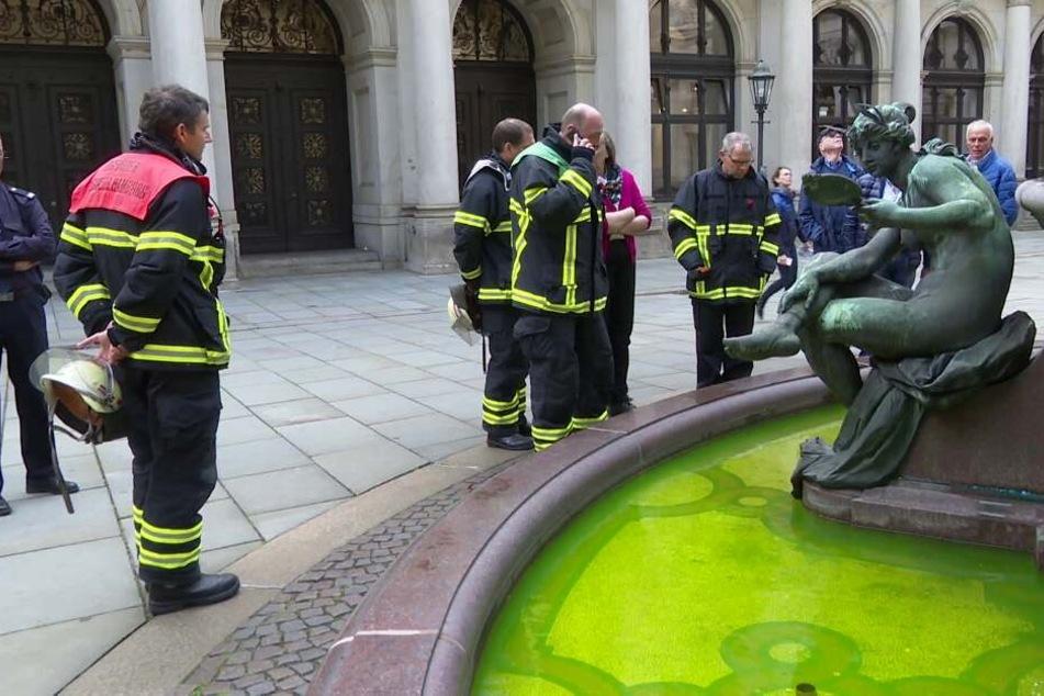 Wasser im Rathausbrunnen plötzlich knallgrün: Das steckt dahinter!