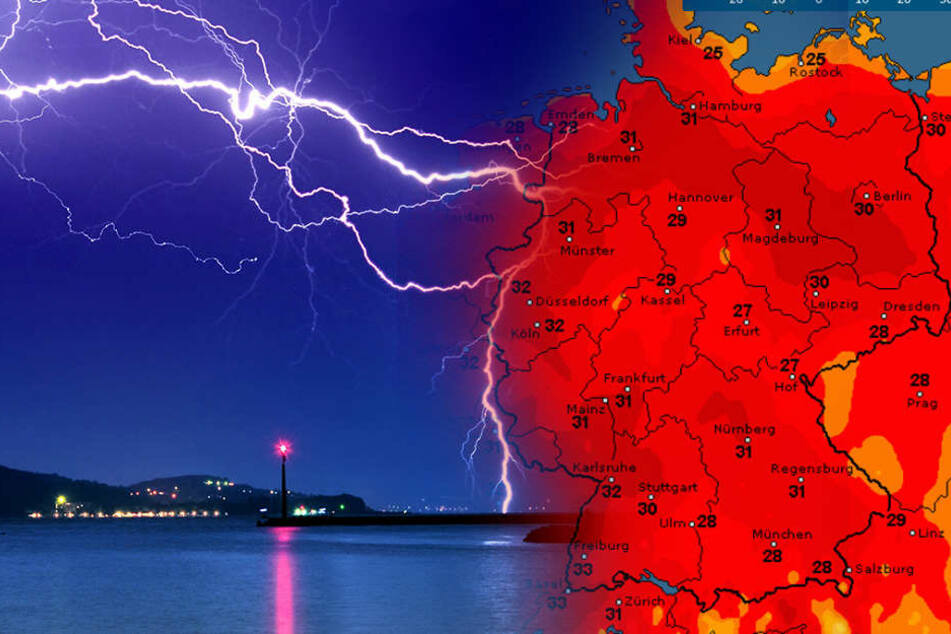 In Deutschland soll es nicht nur warm, sondern auch gewittrig werden.