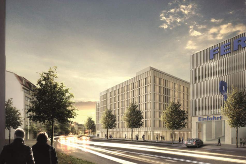 Blick von der Brandenburger Straße: Neben dem Fernbus-Terminal (re.) entsteht ein Ramada- und ein H2-Hotel.