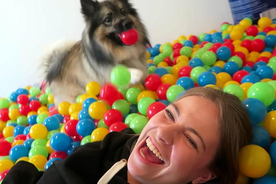 Im Bällebad hatten Melina Sophie und Hund Goði jede Menge Spaß.