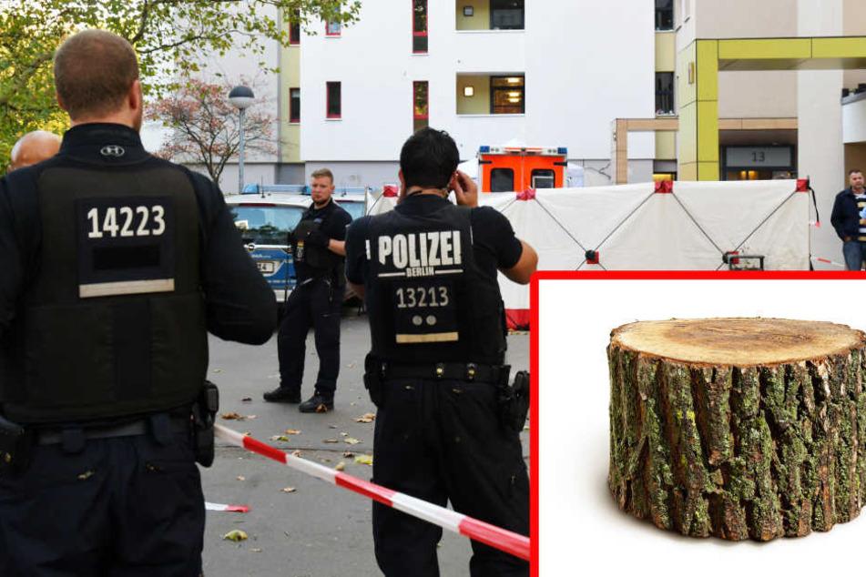 Polizisten sichern den Tatort im Märkischen Viertel. Der Junge wurde von einem Baumstumpf erschlagen. (Symbolbild)