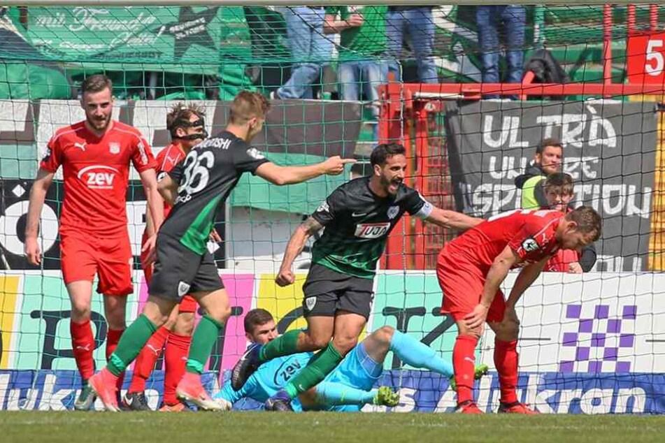 Münsters Kapitän Adriano Grimaldi (M.) traf letzte Woche beim 5:1 gegen den FSV. Also, Vorsicht!