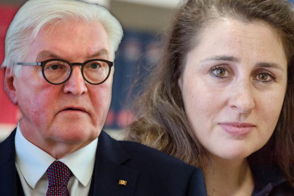 Fotomontage: Bundespräsident Frank Walter Steinmeier und die bedrohte Anwältin Seda Basay-Yildiz treffen am Donnerstag aufeinander.