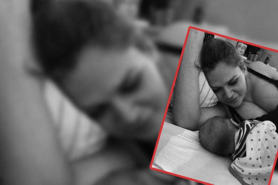 Sara Kulka kuschelt mit ihrer frisch geborenen Tochter Matilda.