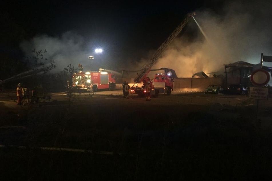 Fünft in der Halle gelagerte Lastwagen brannten komplett aus.