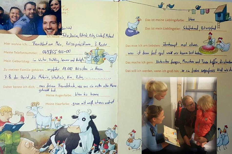 Polizisten tragen sich in vermisstes Freundebuch von 4-Jähriger ein