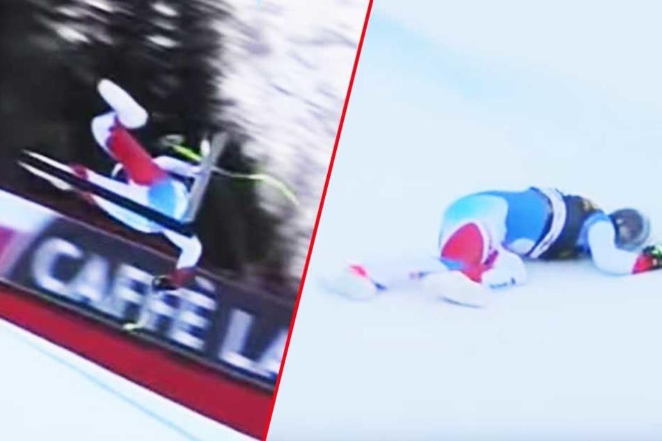 Der Schweizer Skirennfahrer Marc Gisin kam zu Fall, schlug mit dem Kopf auf und blieb bewusstlos liegen.