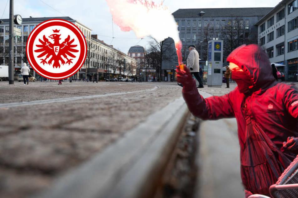 Aggressive Eintracht-Hooligans marschieren durch Darmstadt