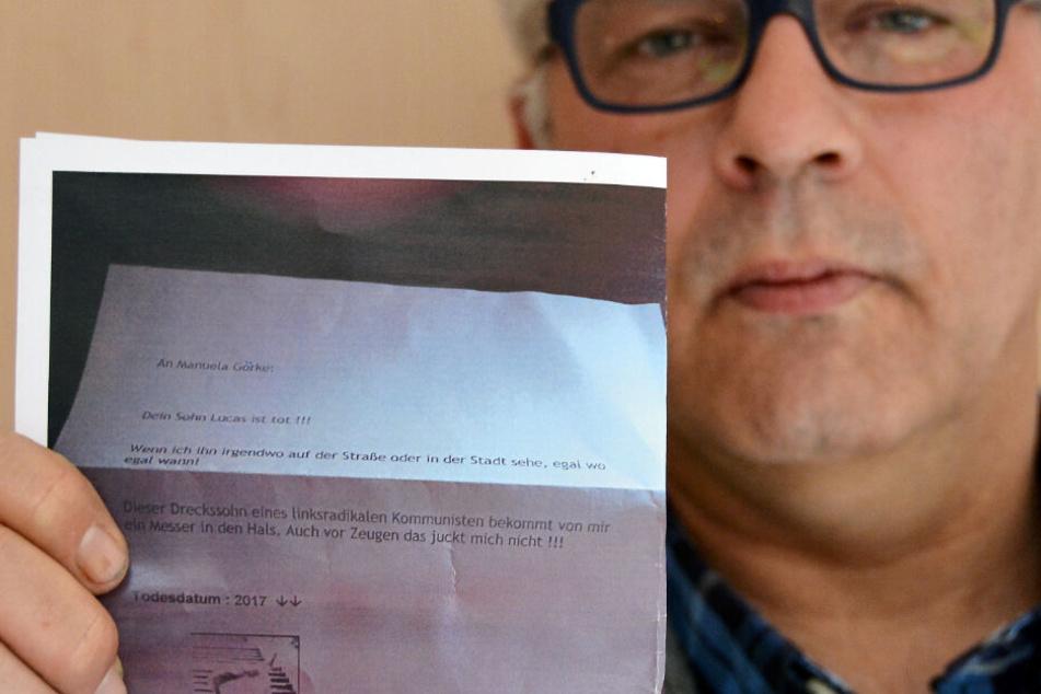 In einem Brief drohten sie Goerkes 17-Jährigem Sohn mit dem Tod.