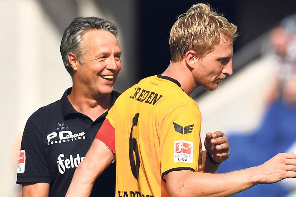 Der Chef und sein Kapitän: Uwe Neuhaus (l.) mit Marco Hartmann.
