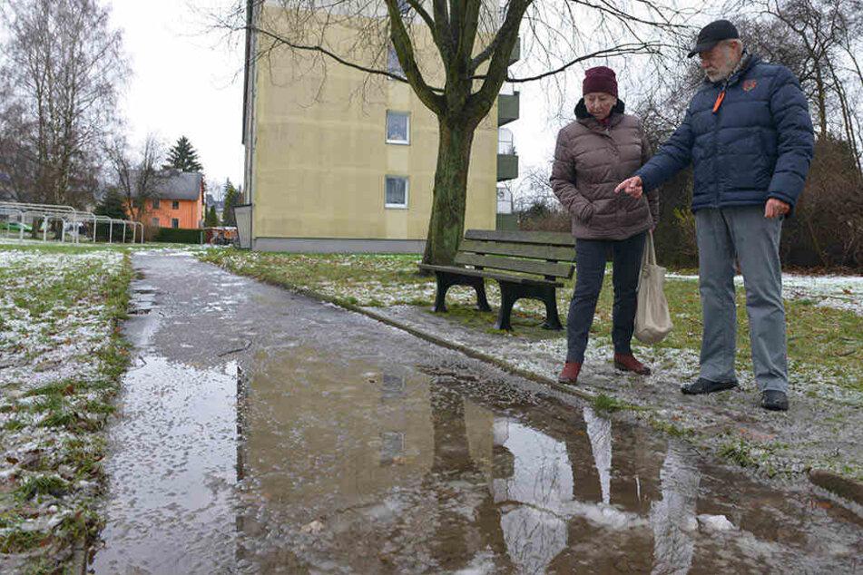 Rutschgefahr für Fußgänger: Der Fußweg im Flemminggebiet verwandelt sich in eine Eisfläche.