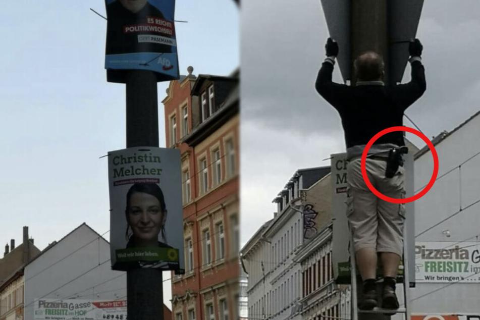 Warum die Waffe zum Plakatieren nötig war, ist nicht bekannt.