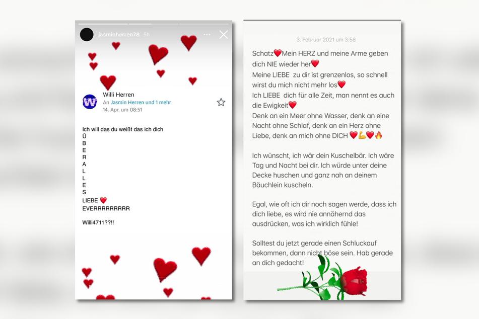 In ihrer Story bei Instagram teilte Jasmin Herren (42) einige Liebesnachrichten, die Willi Herren (†45) ihr vermutlich schickte.