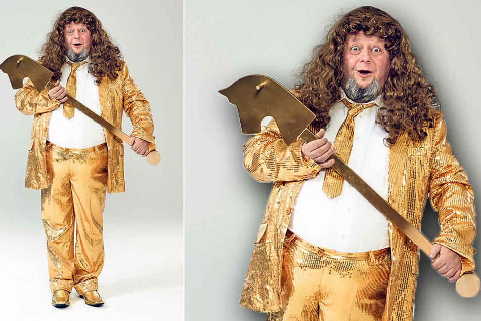 Es ist nicht alles Gold, was glänzt: Holger Blum (52) samt Steckenpferd in  goldiger Pose.