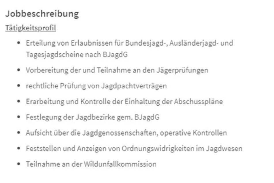 """""""Erteilung von Erlaubnissen für Ausländerjagdscheine"""" steht im Tätigkeitsprofil."""