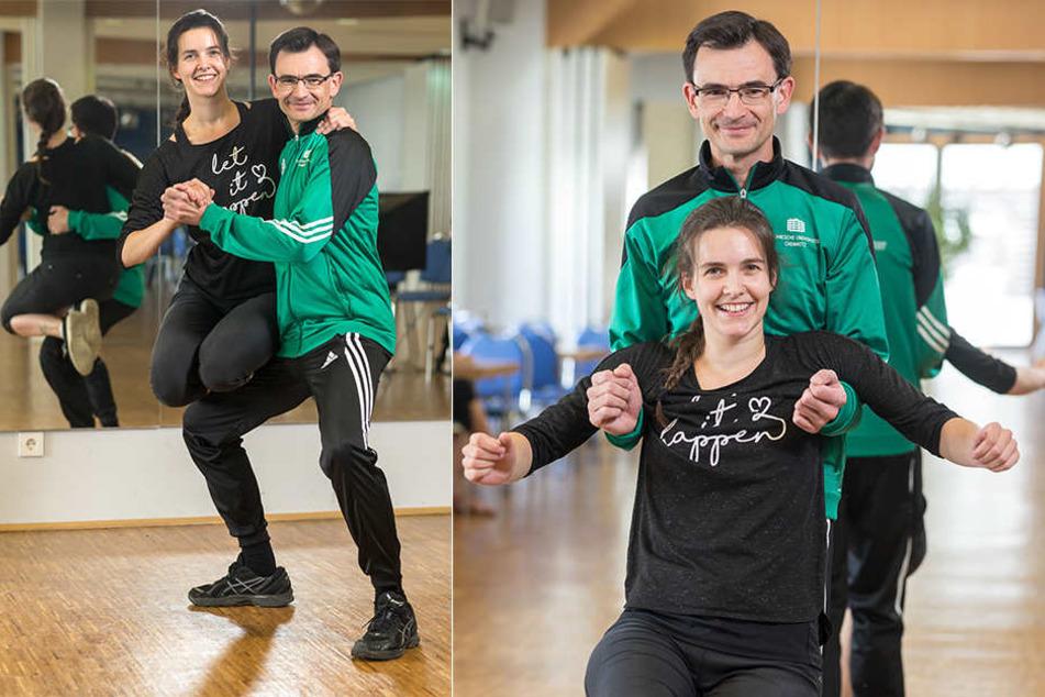 Schnelle Schritte, Drehungen und Figuren: Gerd Strohmeier (43) beim Training mit Tanzlehrerin Monique Enew (27) in der Tanzschule Köhler-Schimmel.