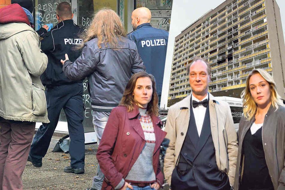 Beim Tatort-Dreh: Echter Polizei-Einsatz im Skandal-Hochhaus