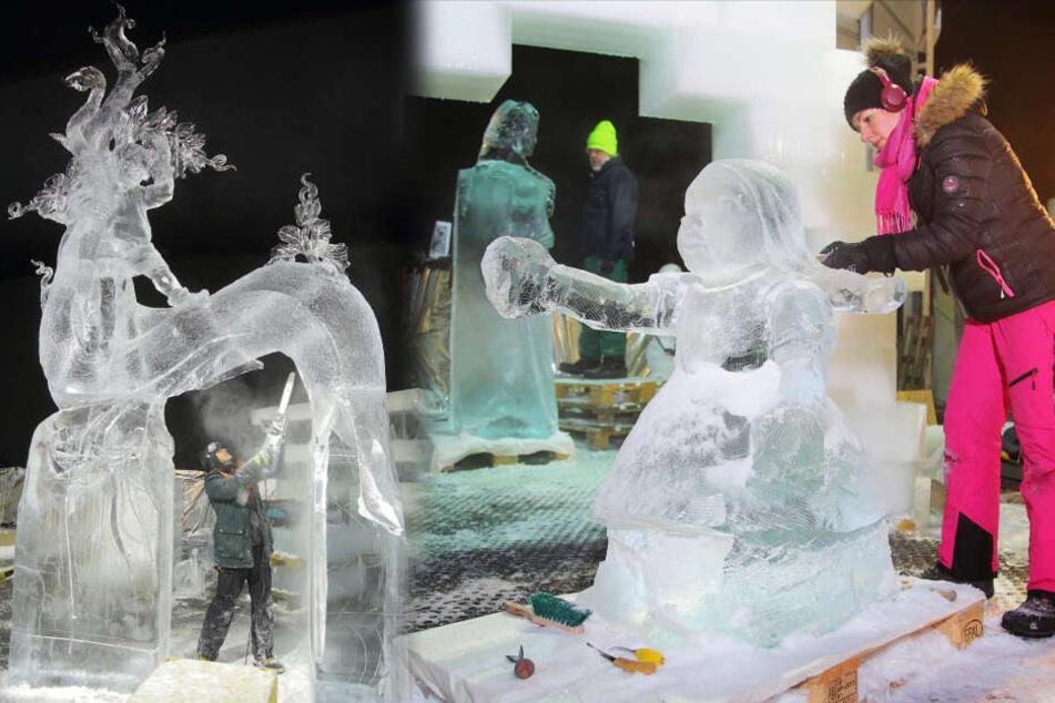 Dresden: Im Dresdner Norden entsteht eine Märchenwelt aus Eis