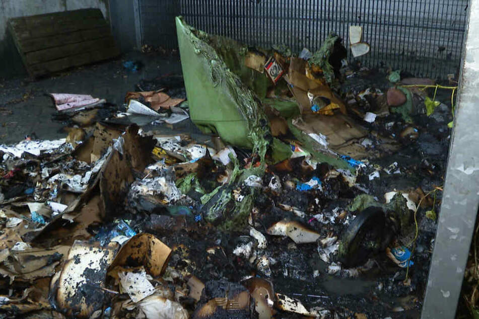 Viel ist von der Mülltonne nach dem Brand nicht übrig geblieben.