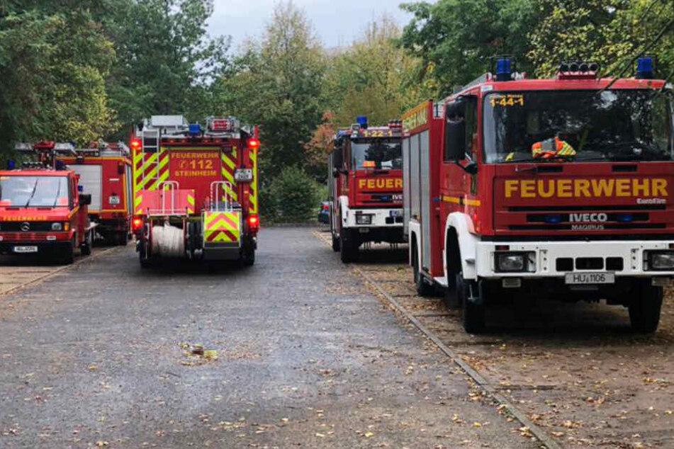 Die Feuerwehr Hanau rückte mit zahlreichen Fahrzeugen an.