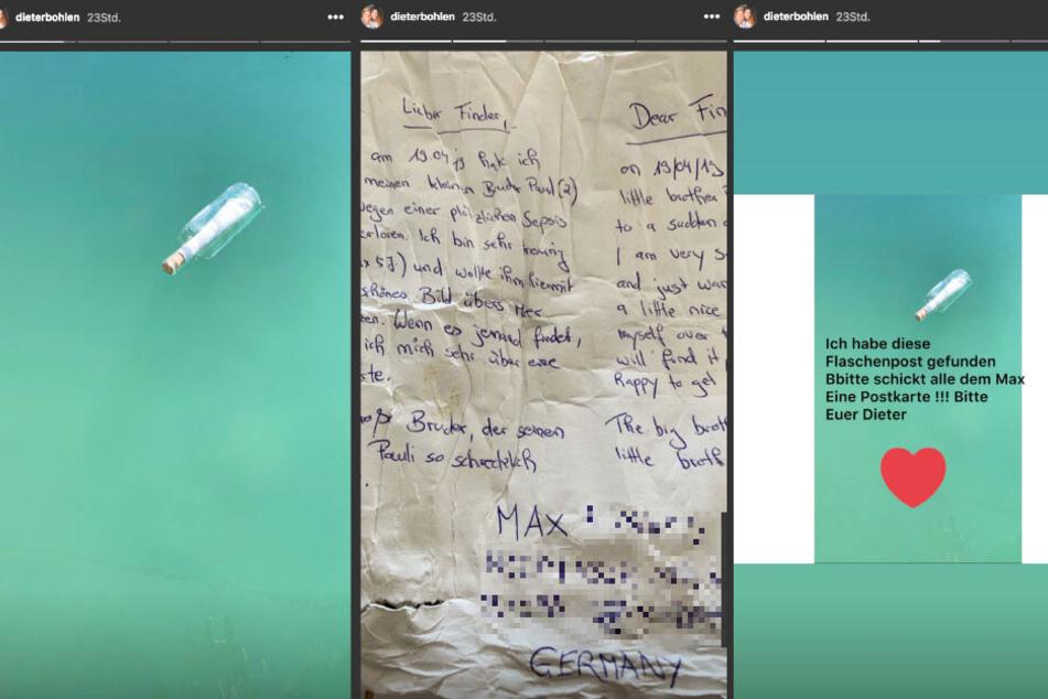 Dieter Bohlen hat in seiner Instagram-Story die gefundene Flaschenpost gezeigt.