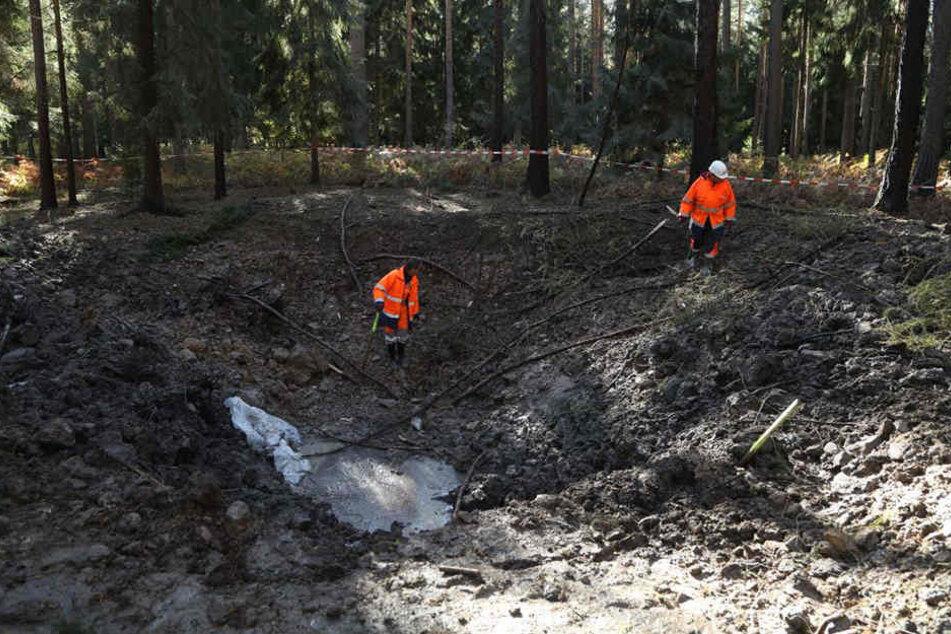 Auf der Räumstelle in der Dippoldiswalder Heide wurde eine Sprengung von Munition aus dem Zweiten Weltkrieg durchgeführt.